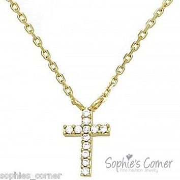 Dainty Feminine Diamond Cross Pendant Necklace ~ Yellow Gold layered