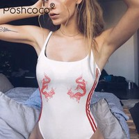 Poshcoco Street Style Sexy Striped Dragon Print Slim Bottoms Shaping Body Suit 2017 Summer Camis Women White Skinny Bodysuits