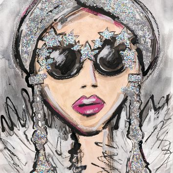 Glitter Glasses Girl Watercolor Painting