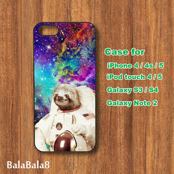 Sloth Astronaut ,galaxy, iPhone 4 case, iPhone 5 case, Blackberry Z10 ,Q10 case, iPod 4/ 5 case,  Samsung S3, samsung S4 case, Galaxy note 2