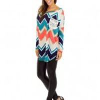 Multi Color Chevron Top With Pocket