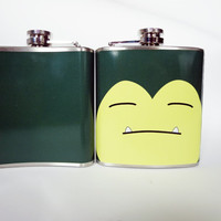 Snorlax Pokemon inspired flask 6oz