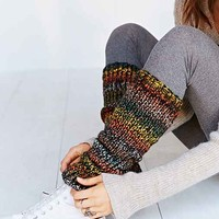 Pixilated Lurex Leg Warmer - Black Multi One