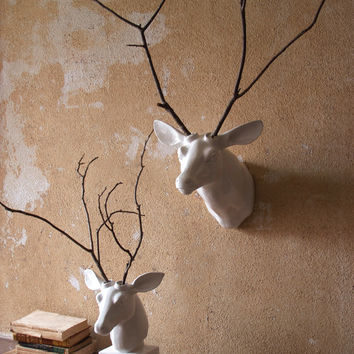 Wall Mount Ceramic Deer Head - White