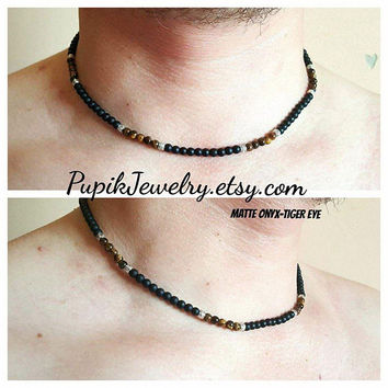ONYX TIGER EYE Necklace Matte Onyx Necklace Tiger Eye Necklace Beaded Necklace Gemstone Jewelry Mens Bracelet Mens Necklace Mens Jewelry