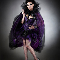 Size medium Purple and black Burlesque Vampire corset dress with sparkle cape and black roses Ready to Ship