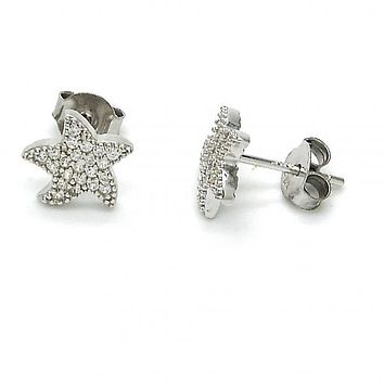 Sterling Silver 02.292.0016 Stud Earring, Star Design, with White Micro Pave, Polished Finish, Rhodium Tone