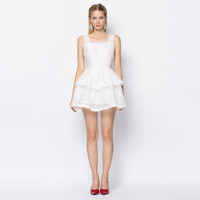 White Frayed Ruffle Mini Skater