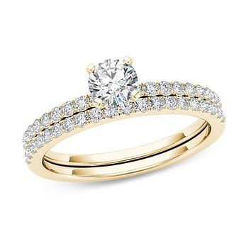 3/4 CT. T.W. Diamond Bridal Engagement Ring Set in 14K Gold