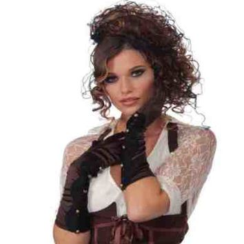 LONG BROWN SATIN STEAMPUNK GLOVES w/BLACK LACE & BUTTONS ADULT COSTUME ACCESSORY