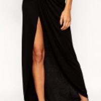 Sexy Classic Black Cotton Maxi Skirt with Slit