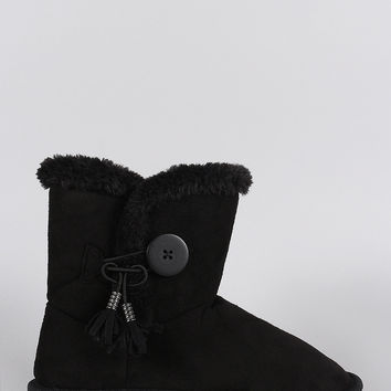 Suede Faux Fur Toggle Button Flat Ankle Boots