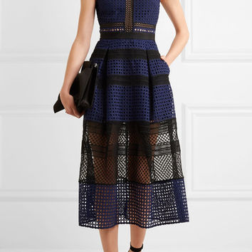 Self-Portrait - Paneled guipure lace dress