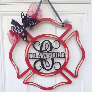 Firefighter Door Hanger, Maltese Cross Door Hanger, Fireman Door Hanger, Door Hanger