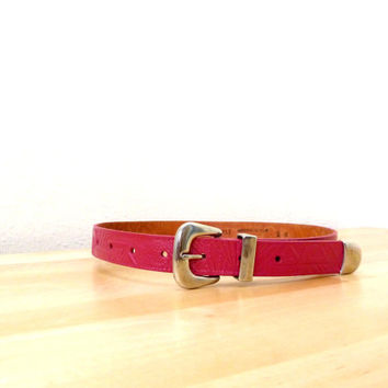 Vintage Hot Pink Belt / Southwestern Belt / Womens Leather Belt / High Waisted Belt / 80s Belt / Hand Tooled Belt S/M