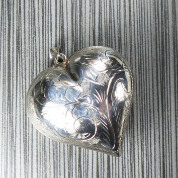Vintage Sterling Silver Puffed Heart Charm Sterling Silver Heart Large Puffy Heart Charm Engraved 1970's Heavy