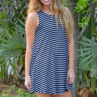 Stripe Criss Cross Back Tunic Swing Dress in Black