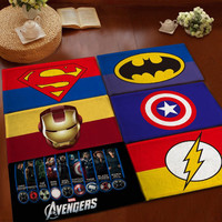 Superman Batman flannel Carpet bathroom water absorption non-slip rug Brand bedroom Porch doormat floor MATS Kitchen Rugs WXT859