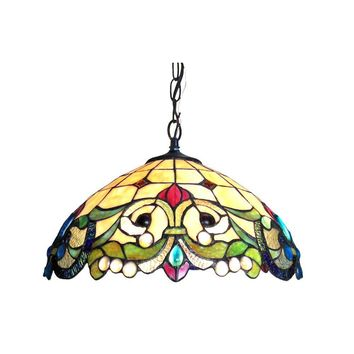 """DULCE Tiffany-style 2 Light Victorian Ceiling Pendent 18"""" Shade"""