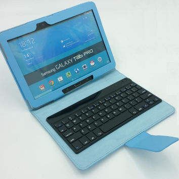 Leather Cover Case with bluetooth keyboard  For Samsung Galaxy Tab Pro 10.1 T520    Note 10.1 2014 Edition P600 P601