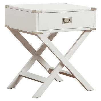 Anders Campaign Nightstand, Silver/White, Nightstands