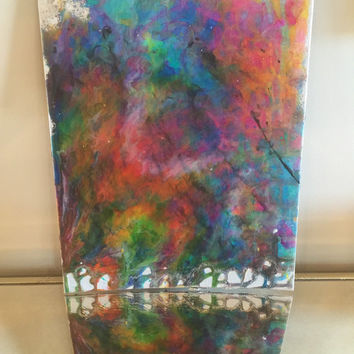 Original abstract acrylic painting poured paint on 11x14 canvas panel rainbow silver