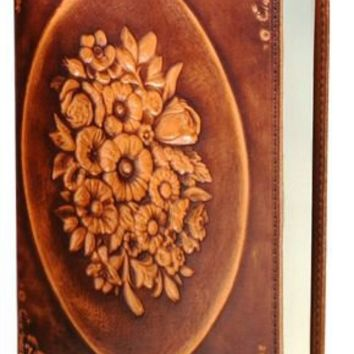 "BARNES & NOBLE | Floral Wreath Brown Italian Leather Journal (6' x 8"") by Barnes & Noble, Nouvel Art"
