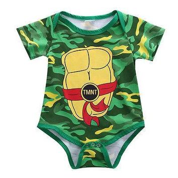 Cute Teenage Mutant Ninja Turtles Toddler Baby Girl Boy Short Sleeve Cotton Bodysuit Costume