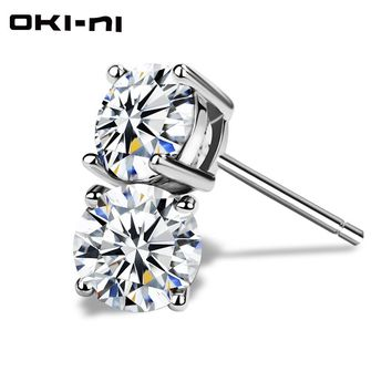OKI-NI 2 Pieces For 33% Off Small 925 sterling silvery women's Silver crystal Stud earrings jewelry ear cuff clip for Girls