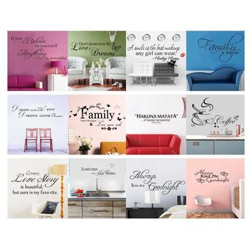 12PC Choose Family Quote Wall Decal Art Words Wall Sticker Quotes Home Decoration Bedroom Removable Vinyl Adesivo De Parede