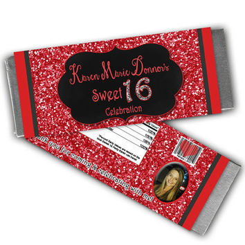 Glittery Red Sweet 16 Candy Party Favor - Custom Sweet 16 Birthday Party Candy Wrapper - Candy Buffet - Sweet Sixteen - Red Glitter Chalk