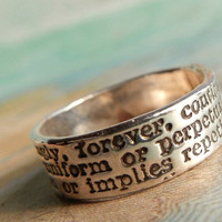 Best Friend Jewelry, Hand Stamped Ring, Always Definition, Eco Friendly BFF Gift, Friendship Jewelry, Custom Size 4 5 6 7 8 9 10 11 12 13