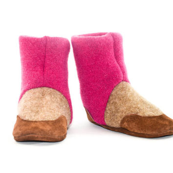Cashmere High Top Booties, Baby Cashmere Slippers, Soft Leather Soles