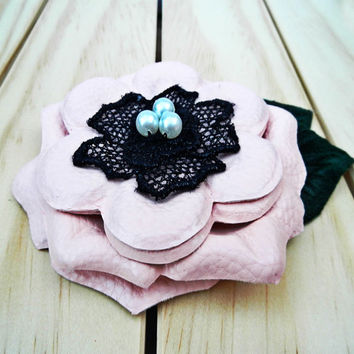 Blush PINK Leather Pin. Pink Leather Brooch. Pink flower brooch pin