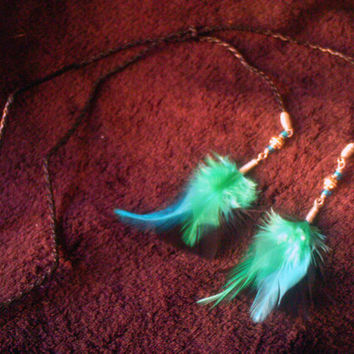 Turquoise & Black Feather Adjustable Y Necklace