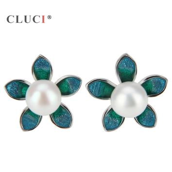CLUCI 1pair Dainty 100% Real 925 Sterling Silver Fine Jewelry green plumeria rubra Flower Stud earrings Charms Girl Jewelry Gift