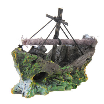 Fish Tank Decoration Cave Decor Sailing Boat Shipwreck Aquarium Sunk Ship Free Shipping PTSP