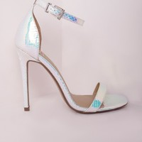 BARELY THERE STRAPPY HEELED SANDALS HOLOGRAPHIC