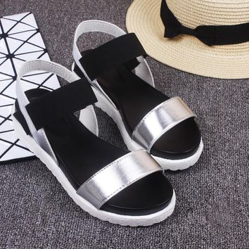 Weweya 2017 New Gladiator Women shoes Roman sandals shoes Women sandals peep-toe flat