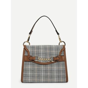 Ring Chain Design Houndstooth Tote Bag