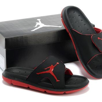 Nike Air Jordan Black/red Casual Sandals Slipper Shoes Size Us 7 13