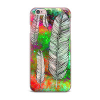 """Suzanne Carter """"Feather"""" Rainbow Space iPhone Case"""