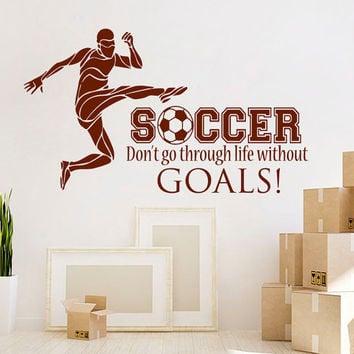 Football Wall Decal Quote Sport Vinyl Stickers Soccer Player Decals Soccer Quotes Art Home Bedroom Interior Design Boys Room Decor KI169