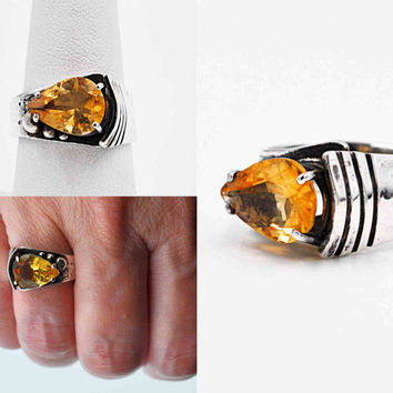 Vintage Sterling Silver Citrine Ring, Signed TJM, Modernist, Artisan, Handmade, Faceted, Pear-Shaped, Size 8, OOAK, Stunning!  #c187