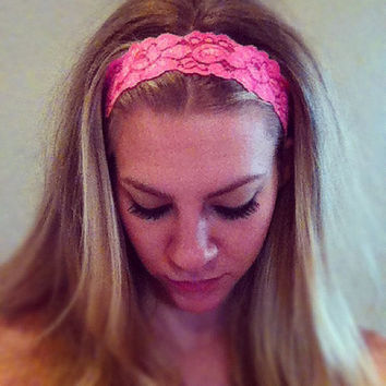 Hot Pink  Thin Lace Headband by MakHappi on Etsy