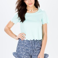 Sweet Scalloped Hem Tee