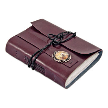 Burgundy Faux Leather Journal - Wrap Journal - Travel Journal - Prayer Journal - Dragonfly Cameo  - Travel Journal - Diary - Ready To Ship -