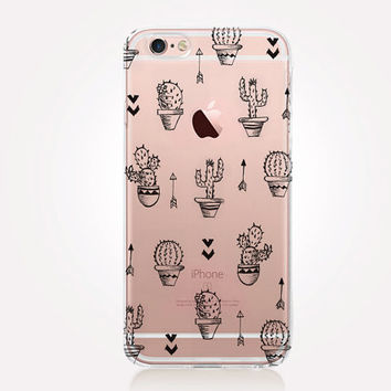 Transparent Cactus iPhone Case - Transparent Case - Clear Case - Transparent iPhone 6 - Gel Case - Soft TPU Case - Samsung S7