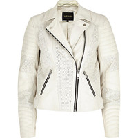 River Island Womens White perforated panel leather biker jacket