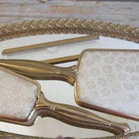 Vintage Mirror Tray with Gold Hand Mirror Hair Brush Comb Set, Dresser or Vanity Set 4 piece set
